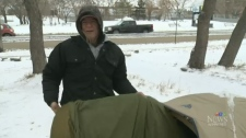 Vet Camping out, raising money for homeless