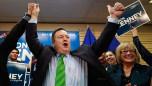 United Conservative Party Leader Jason Kenney reacts to winning the Calgary Lougheed byelection in Calgary, Thursday, Dec. 14, 2017. THE CANADIAN PRESS/Todd Korol