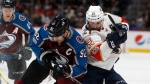 Colorado Avalanche left wing Gabriel Landeskog, left, collides with Florida Panthers center Vincent Trocheck as they battle for control of the puck in the second period of an NHL hockey game Thursday, Dec. 14, 2017, in Denver. (AP Photo/David Zalubowski)