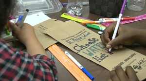 Students at St. Peter's School in Calgary are among hundreds taking part in SADD's Liquor Bag Campaign.