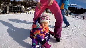 Baby on slopes for first time