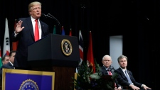 President Donald Trump speaks during the FBI National Academy graduation ceremony, Friday, Dec. 15, 2017, in Quantico, Va. '(AP Photo/Evan Vucci)