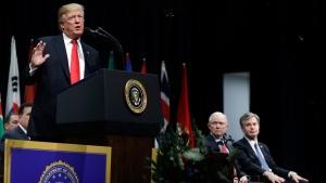 President Donald Trump speaks during the FBI National Academy graduation ceremony, Friday, Dec. 15, 2017, in Quantico, Va. '(AP Photo/Evan Vucci)