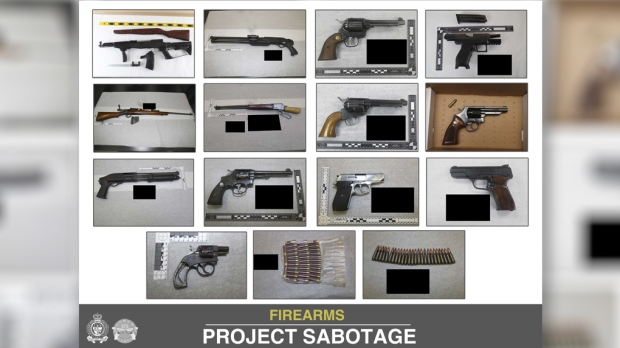 Ottawa Police seized 24 firearms including long guns, handguns, semi-automatic guns during a six-month operation called Project Sabotage. (Ottawa Police handout)