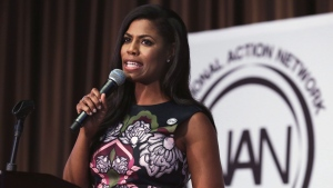 FILE - In this April 27, 2017 file photo, Omarosa Manigault-Newman, political aide and communications director for the Office of Public Liaison at the White House under President Donald Trump's administration, speaks at the Women's Power Luncheon of the 2017 National Action Network convention, in New York. Manigault Newman, an assistant to President Donald Trump, says a mid-September conference has been moved to the White House campus from a hotel in the Virginia suburbs of Washington. (AP Photo/Richard Drew, File)
