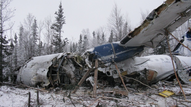 A crashed West Wind Aviation plane that went down shortly after takeoff from Fond du Lac is shown here on Thursday, Dec. 14, 2017, one day after the crash. (Transportation Safety Board of Canada)