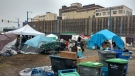 A tent city named 'Sugar Mountain' by residents is seen in Vancouver on Friday, Dec. 15, 2017. (Ben Miljure / CTV Vancouver)