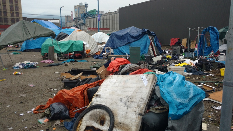 A Vancouver homeless camp is seen Friday, Dec. 15, 2017. (Ben Miljure / CTV Vancouver)