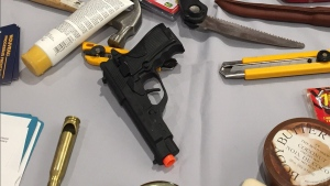 confiscated, toy gun, knife