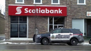 The Scotiabank branch on King Street East in Cambridge was robbed on Friday, Dec. 15, 2017.