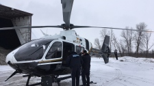 The OPP use a helicopter to find distracted transport truck drivers on Friday, Dec. 15, 2017. (Sean Grech/ CTV Barrie)