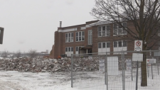 Demolition started at Prince of Wales Public School in Barrie, Ont. on Friday, Dec. 15, 2017. (CTV Barrie)