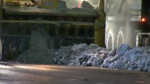 File footage of City of Calgary crews removing snow along 5 Avenue Southwest