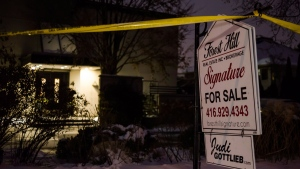 Police tape surrounds the home of Apotex founder Barry Sherman and wife, Honey Sherman after they were found dead on Friday, December 15, 2017. THE CANADIAN PRESS/Christopher Katsarov