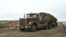 Gravel trucks increasing with Bypass work