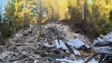 With no available fire departments, a home in the unprotected 'bold point' area of eastern Quadra Island burned to the ground. Dec. 15, 2017. (CTV Vancouver Island)