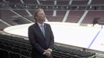 Ottawa Senators owner Eugene Melnyk stands near the ice as members of the media are given a tour of changes to the Canadian Tire Centre in Ottawa on September 7, 2017. (Adrian Wyld/THE CANADIAN PRESS)