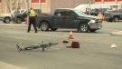 A damaged bicycle near the intersection of Stafford Drive and 3 Ave N following a collision that claimed the life of a cyclist