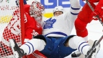 Toronto Maple Leafs left wing Matt Martin (15) lands on Detroit Red Wings goalie Jimmy Howard (35) after being checked in the first period of an NHL hockey game Friday, Dec. 15, 2017, in Detroit. (AP Photo/Paul Sancya)