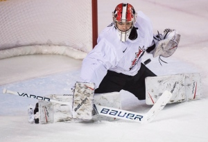 USports goalie Michael DiPietro (31) makes a save against Team Canada during third period exhibition hockey action in preparation for the upcoming IIHF World Junior Championships in St. Catharines, Ont., on Dec. 14, 2017. THE CANADIAN PRESS/Nathan Denette