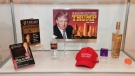 Donald Trump games, books, water, alcohol and other items are displayed at The Museum of Failure in Los Angeles on Dec. 7, 2017.(Robyn Beck / AFP0