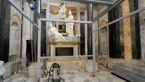 A view of the chapel of San Bernardo inside the Basilica of the Vicoforte sanctuary, where the corpse of Queen Elena di Savoia was received and where the remains of King Vittorio Emanuele III of Savoia will be placed, in Vicoforte, near Cuneo in the Piedmont region, Italy, on Dec. 16, 2017. (Rafaele Sasso/ANSA via AP)