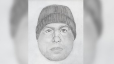 The Abbotsford Police Department released this sketch of a suspect who allegedly pushed a 23-year-old woman from behind and tried to restrain her. (Abbotsford Police Department)