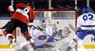 Ottawa Senators right wing Bobby Ryan (9) puts the puck past Montreal Canadiens goalie Carey Price (31) during third period hockey action at the NHL 100 Classic, in Ottawa on Saturday, December 16, 2017. (Adrian Wyld/The Canadian Press)