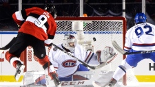 Ottawa Senators right wing Bobby Ryan (9) puts the puck past Montreal Canadiens goalie Carey Price (31) during third period hockey action at the NHL 100 Classic, in Ottawa on Saturday, December 16, 2017. THE CANADIAN PRESS/Adrian Wyld