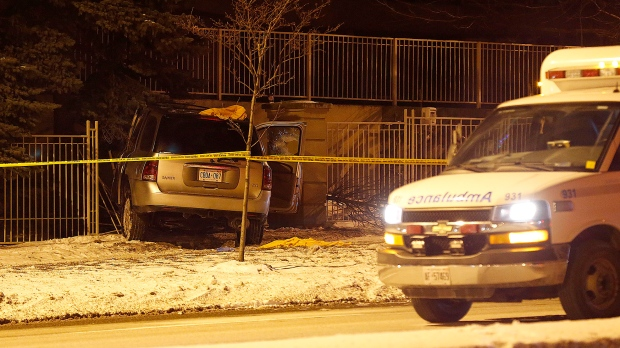 One person was taken to hospital in critical condition after a crash in Guildwood this morning. (John Hanley/ CP24)
