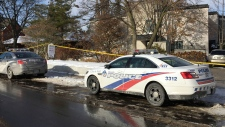 Police cars are parked outside the home of billionaire Barry Sherman on Saturday, Dec. 17, 2017 in Toronto. Sherman and his wife were found dead in the north Toronto mansion on Friday, Dec. 16. Police said they were investigating the deaths as suspicious. (AP Photo/Robert Gillies)