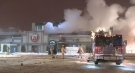 A fire heavily damaged Teddy's Bar & Grill in Pointe-Aux-Tremble early on Sunday, Dec. 17, 2017.
