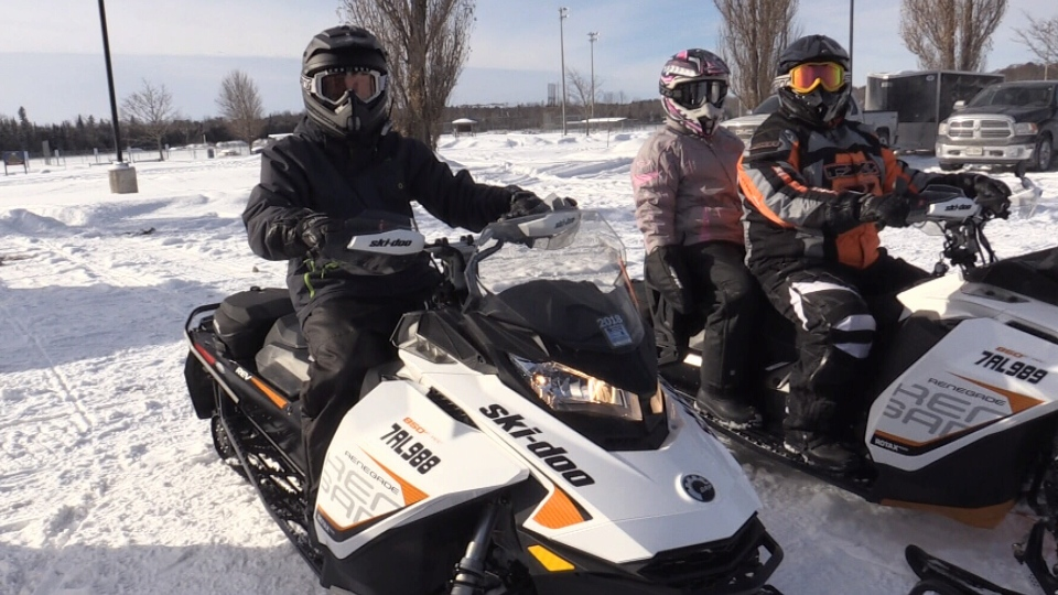 Snowmobilers taking advantage of the open trails in Wasaga Beach (CTV Barrie)