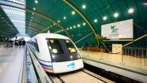 Magnetic levitation was one technology considered for the job. This Shanghai maglev train ferries passenger between the downtown core and the airport. (Ultra High-Speed Ground Transportation Study)