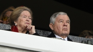 Carolina Panthers owner Jerry Richardson watches the action during the first half of an NFL football game between the Carolina Panthers and the Green Bay Packers in Charlotte, N.C., Sunday, Dec. 17, 2017. (AP Photo/Mike McCarn)