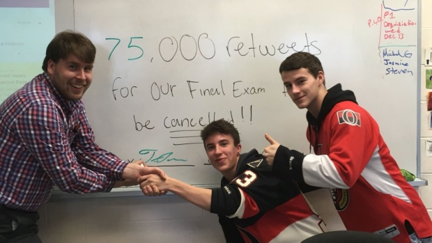 Students need 75,000 retweets to cancel final exam