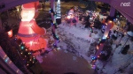 This security camera footage shows the Christmas decorations that were damaged outside a Toronto home.