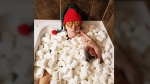 Sheri Gilam's Elf on the Shelf takes a bath of marshmallows.