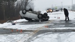One person was seriously hurt in a three-vehicle crash on Highway 6 near the community of Ennotville on Monday, Dec. 18, 2017. (Katarina Milicevic / CTV Kitchener)