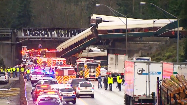 "An Amtrak train derailed south of Seattle, and authorities say ""injuries and casualties"" were reported. (ABC)"