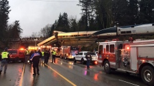 "This photo provided by Washington State Patrol shows an Amtrak train that derailed south of Seattle on Monday, Dec. 18, 2017. Authorities reported ""injuries and casualties."" The train derailed about 40 miles (64 kilometers) south of Seattle before 8 a.m., spilling at least one train car on to busy Interstate 5. (Source: Washington State Patrol via AP)"