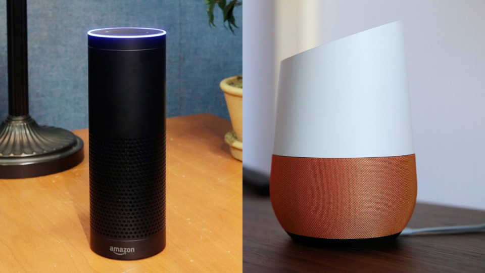 Amazon's Alexa-enabled Echo speaker, left, is shown alongside the Google Home speaker. (AP)