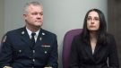 Former firefighter Liane Tessier, right, and Ken Stuebing, fire chief for Halifax Regional Fire & Emergency, attend a news conference in Halifax on Monday, Dec. 18, 2017.  (THE CANADIAN PRESS/Andrew Vaughan)