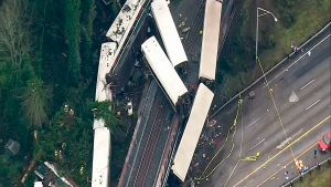 This image from video provided by KOMO-TV, shows the site of an Amtrak train that derailed south of Seattle on Monday, Dec. 18, 2017. (KOMO-TV via AP)
