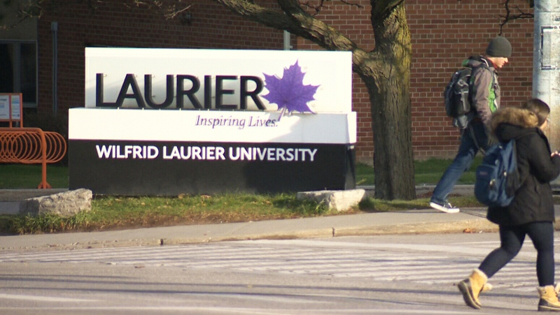 A Wilfrid Laurier University sign seen in this undated file photo.