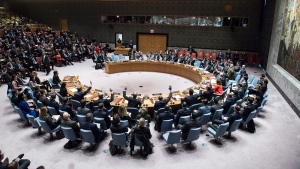 The U.N. Security Council at United Nations headquarters on Monday. (Kim Haughton/United Nations via AP)