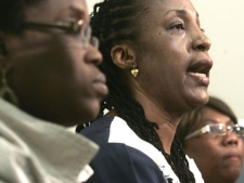 Eunice Quash, left to right, secretary of the board of Intercede, Agatha Mason, executive director of Intercede, and Marilyn Oladimeji, chairman of the board of Intercede, talk to the media in Toronto on Friday, May 8, 2009. (Jim Ross / THE CANADIAN PRESS)