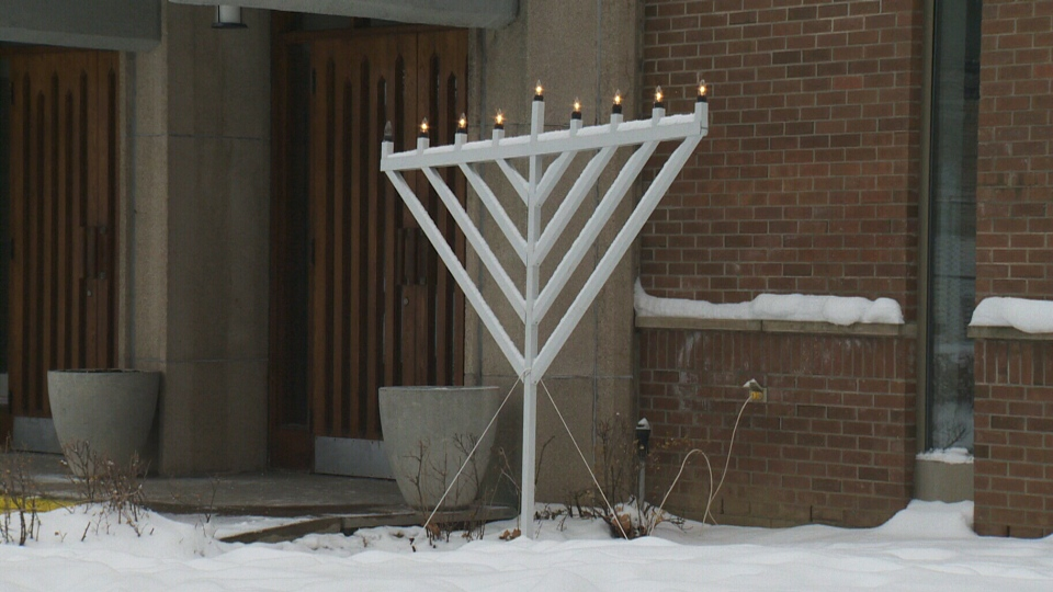 A menorah outside a synagogue is seen in this file image.