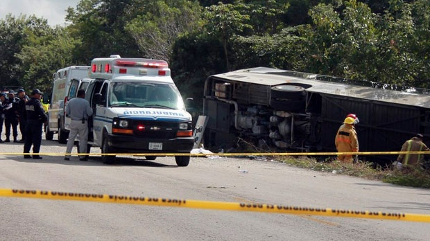Mexican bus crash leaves at least 12 people dead including tourists