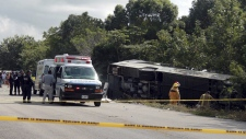 Overturned bus in Mahahual, Mexico